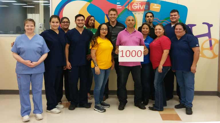 employee donor reaches 1000